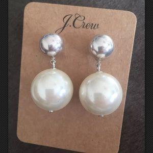 NWT J.Crew Pearl Luna drop Earrings